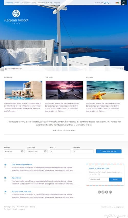 Aegean Resort WordPress Theme