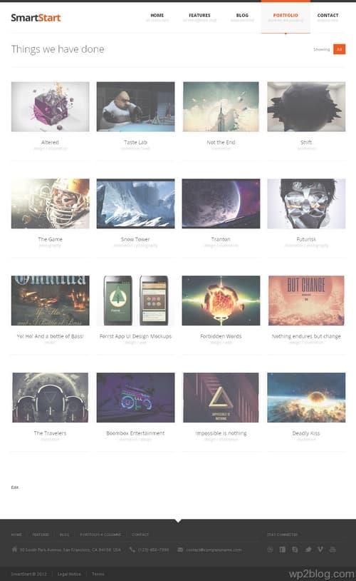 SmartStart Theme Portfolio Page