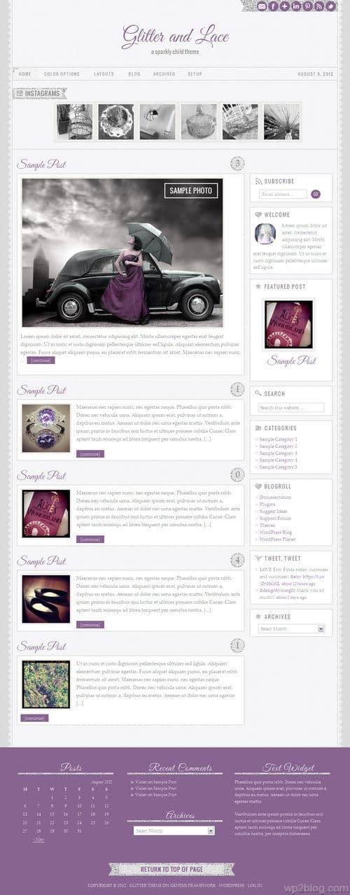 Glitter and Lace 1.0 WordPress Theme