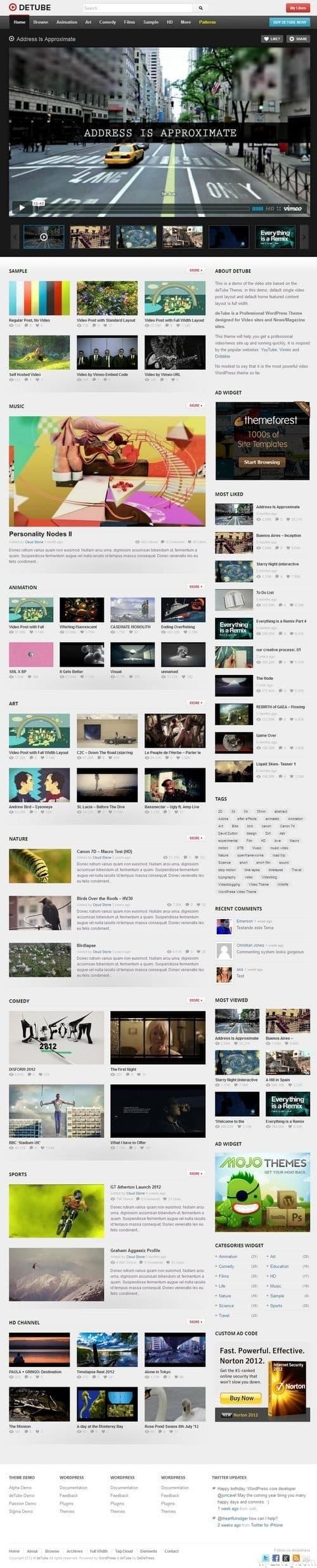 deTube WordPress Theme