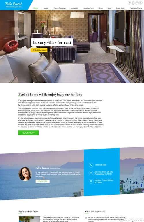 Villa Rental WordPress Theme