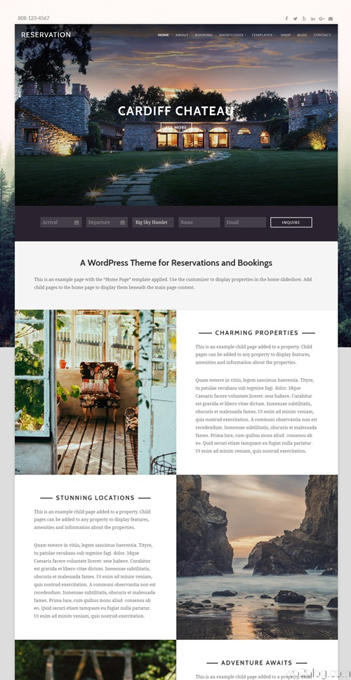 Reservation WordPress Theme